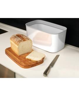 Хлебница стальная с разделочной доской из бамбука