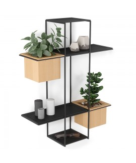Полка-органайзер с 2 кашпо Umbra Cubist Multi Shelf Black (1013878-427)