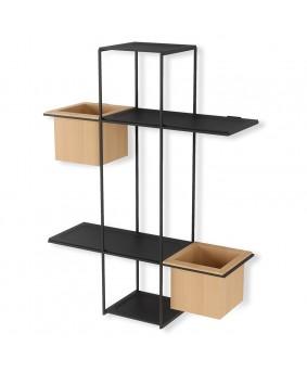 Полка-органайзер с 2 кашпо Umbra Cubist Multi Shelf Black (1013878-427)